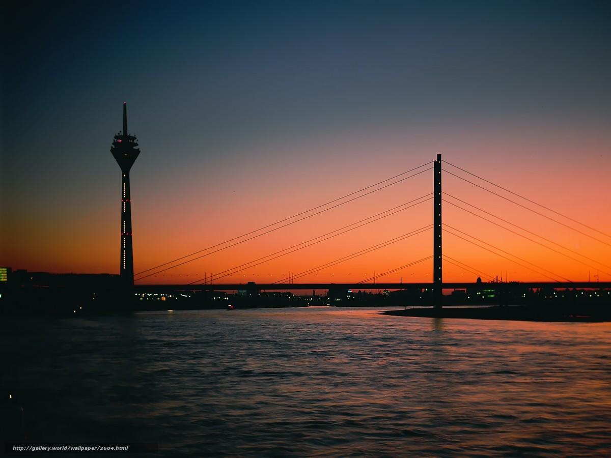 Скачать обои вечер,  башня,  мост бесплатно для рабочего стола в разрешении 1600x1200 — картинка №2604