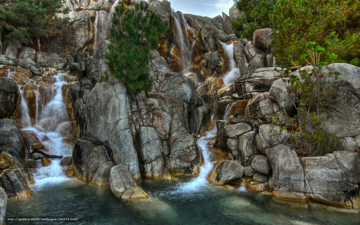 Download wallpaper water,  waterfalls,  stones,  rock free desktop wallpaper in the resolution 2560x1600 — picture №26374