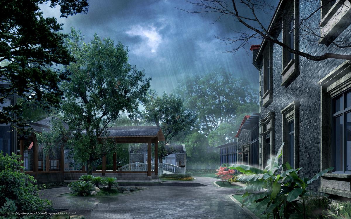 scaricare gli sfondi Photoshop, pioggia, cantiere Sfondi