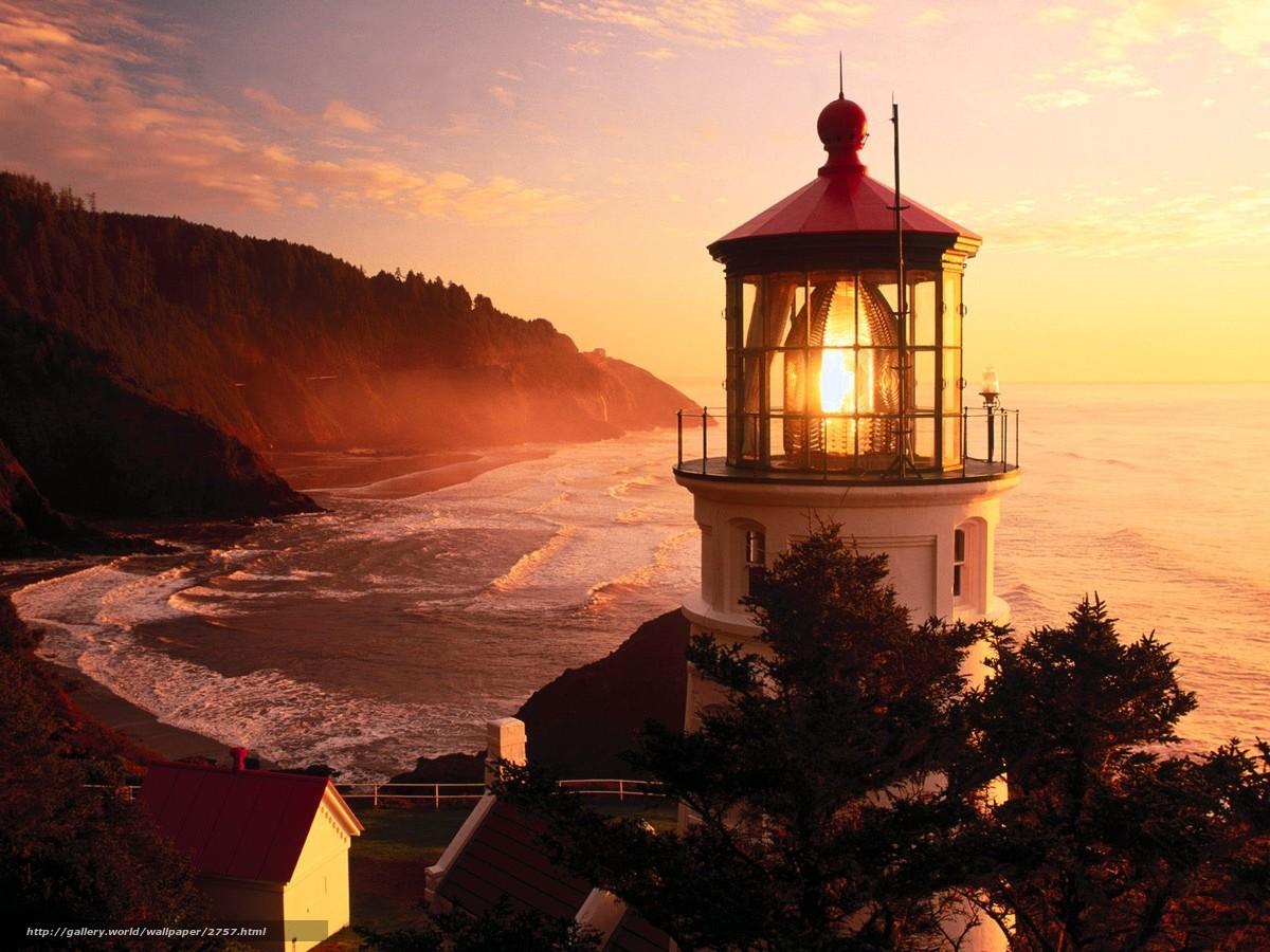 Скачать обои орегон,  закат,  маяк бесплатно для рабочего стола в разрешении 1600x1200 — картинка №2757