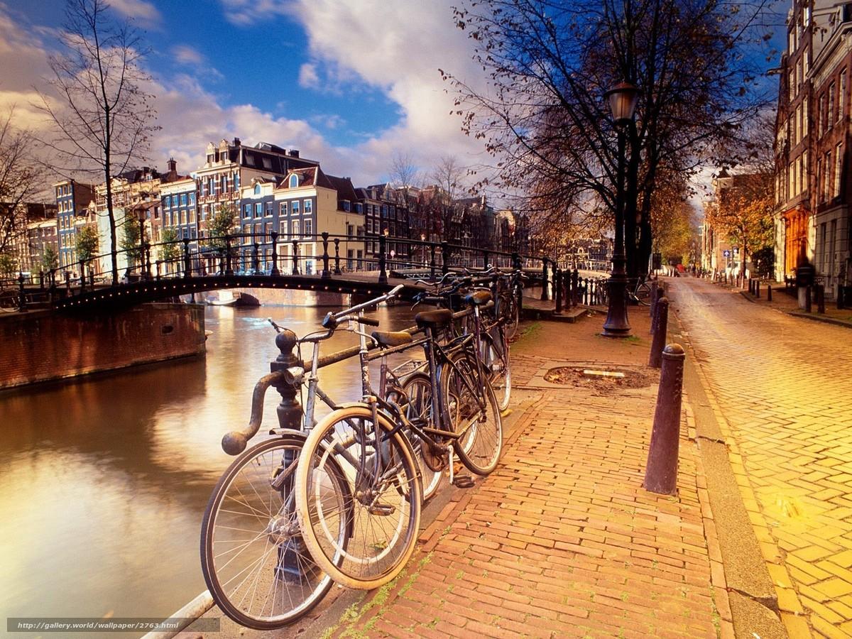 Скачать обои амстердам,  велики,  улочка бесплатно для рабочего стола в разрешении 1600x1200 — картинка №2763