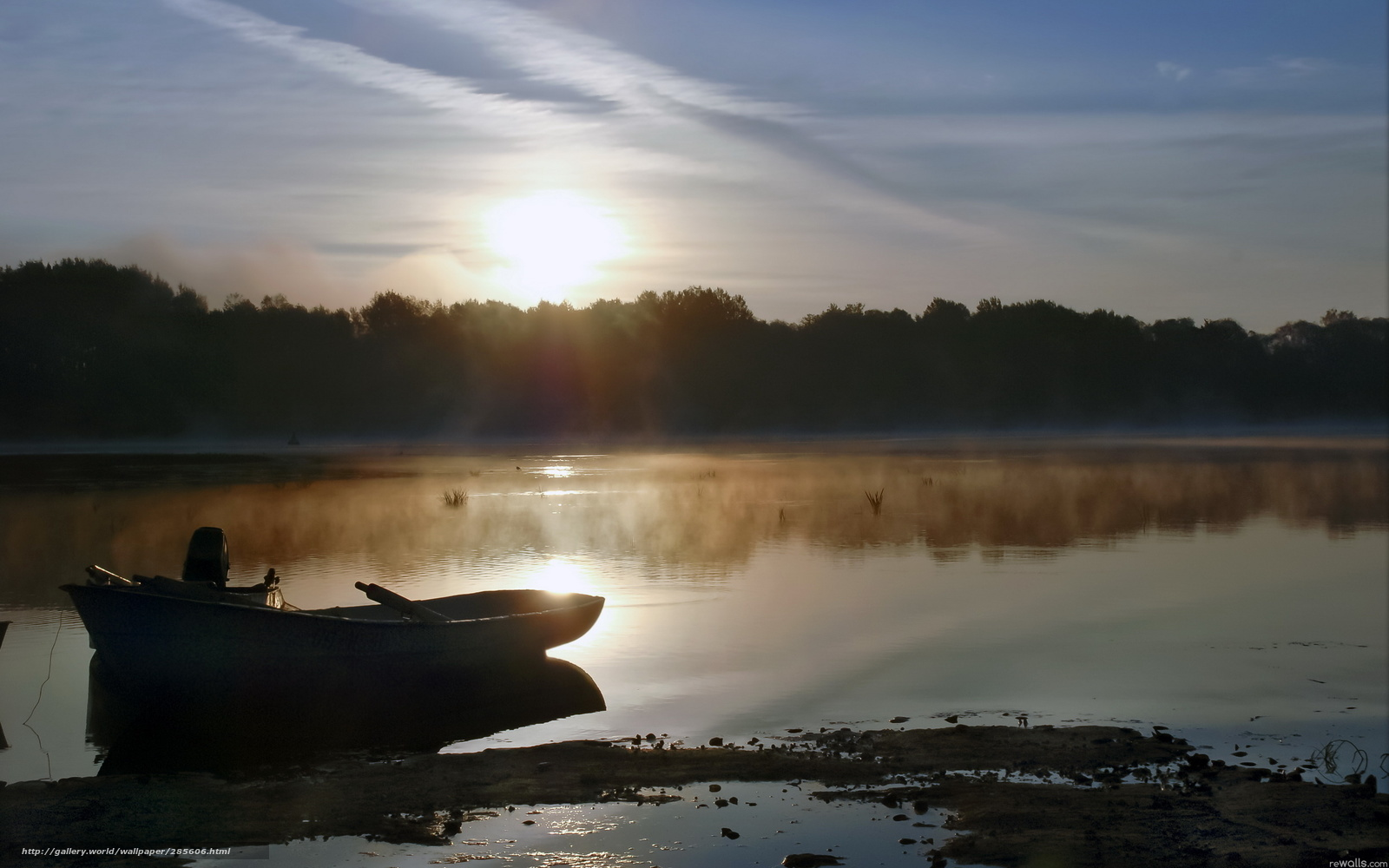 Download wallpaper lake,  morning,  boat free desktop wallpaper in the resolution 2560x1600 — picture №285606