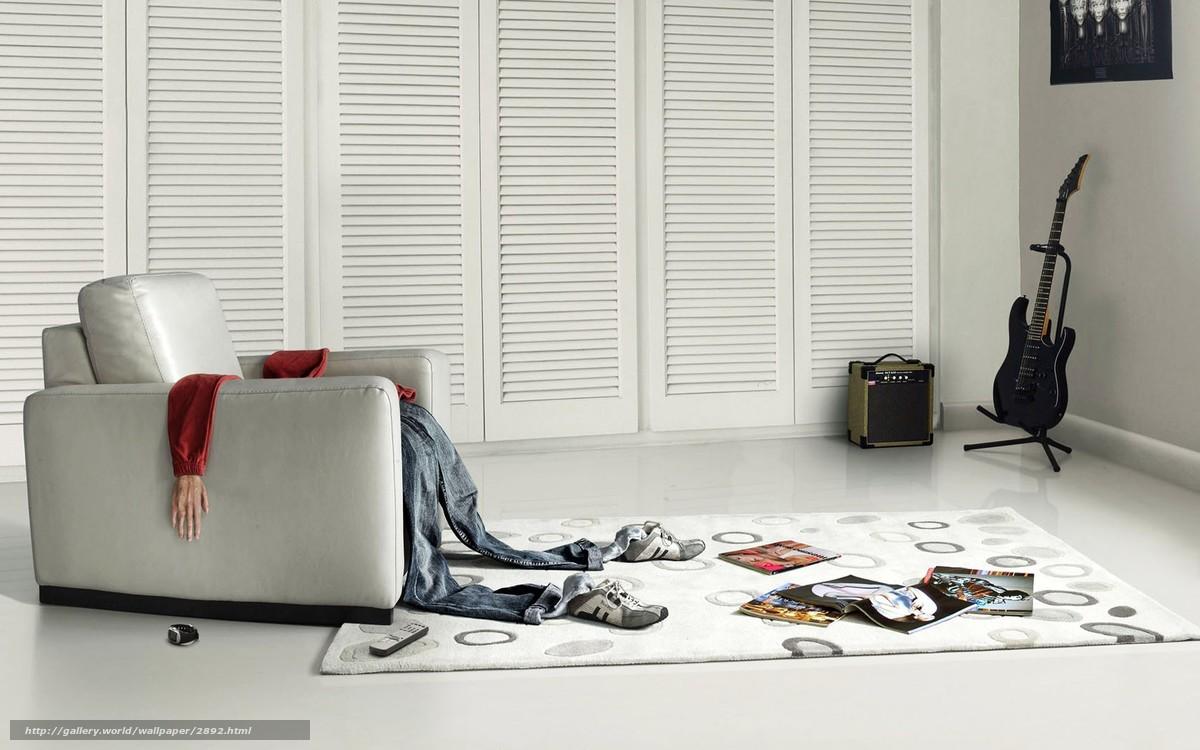 Download wallpaper fatigue,  guitar,  room free desktop wallpaper in the resolution 1680x1050 — picture №2892