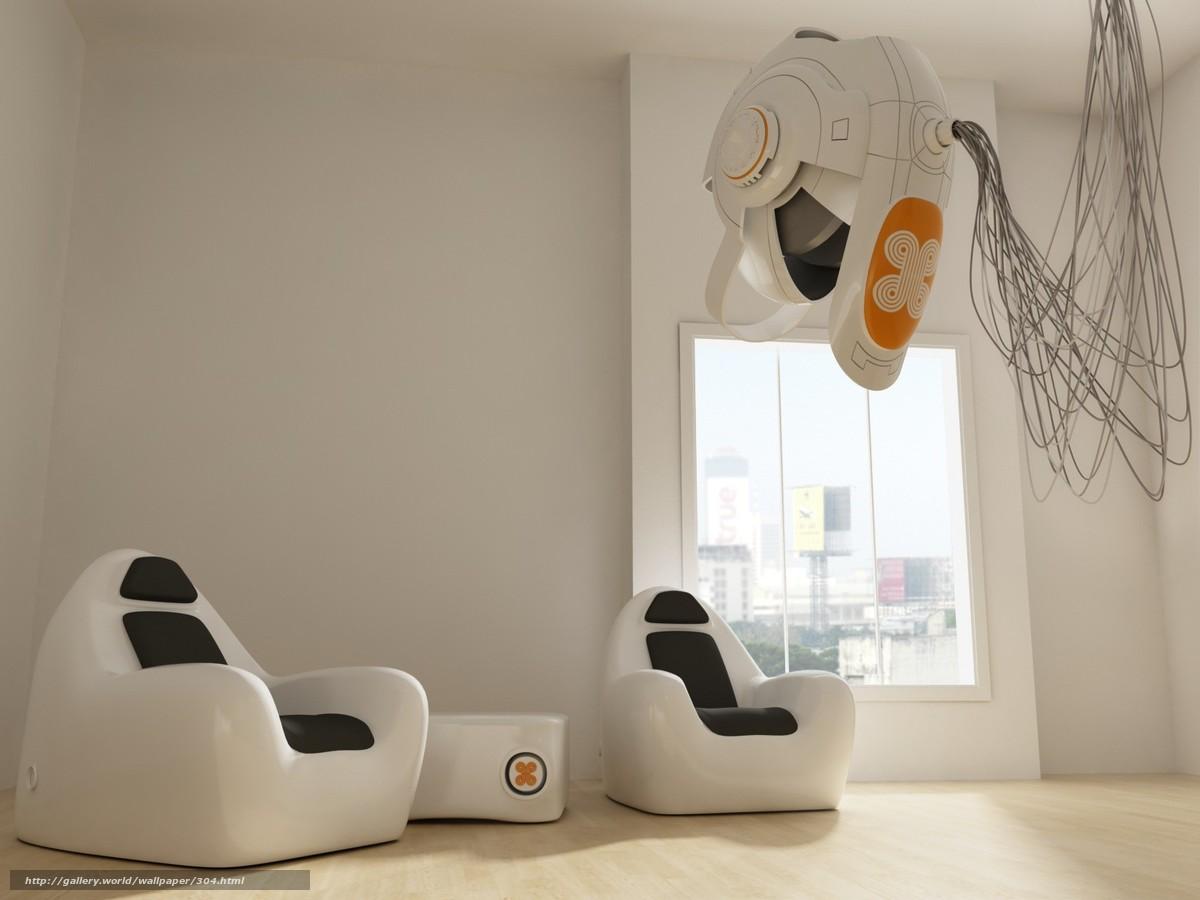 Download wallpaper Furniture,  white,  room,  fantasy free desktop wallpaper in the resolution 1600x1200 — picture №304