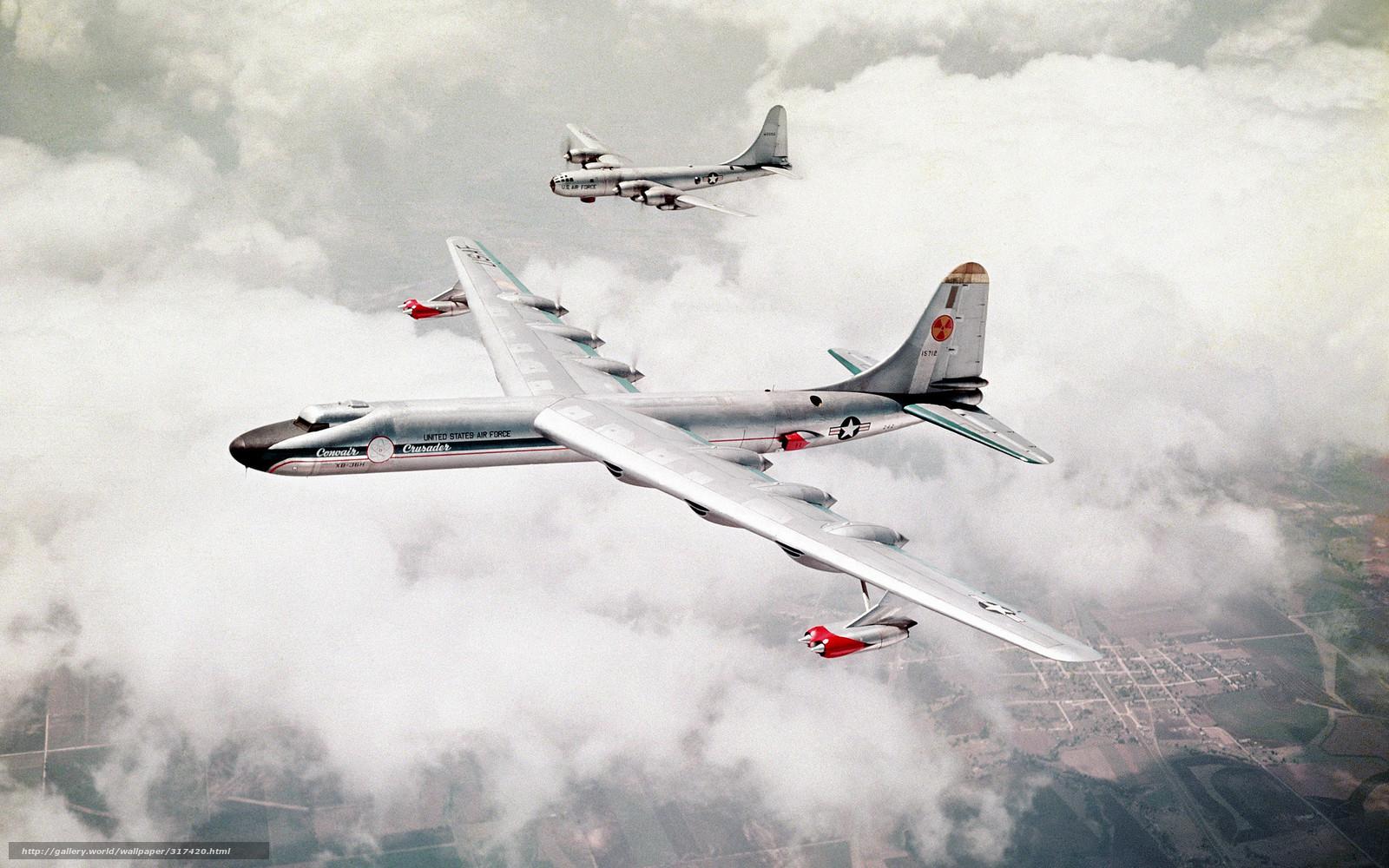 Скачать обои два,   самолёта,   бомбардировщики,   небо бесплатно для рабочего стола в разрешении 2560x1600 — картинка №317420