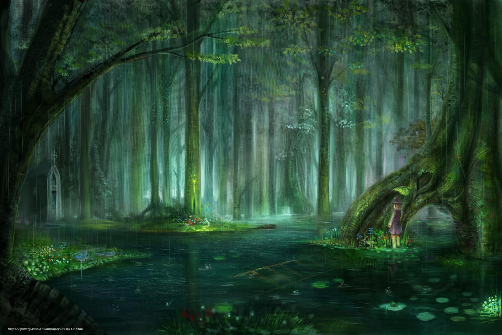 Скачать обои аниме,   лес,   дождь,   капли бесплатно для рабочего стола в разрешении 2100x1400 — картинка №318513