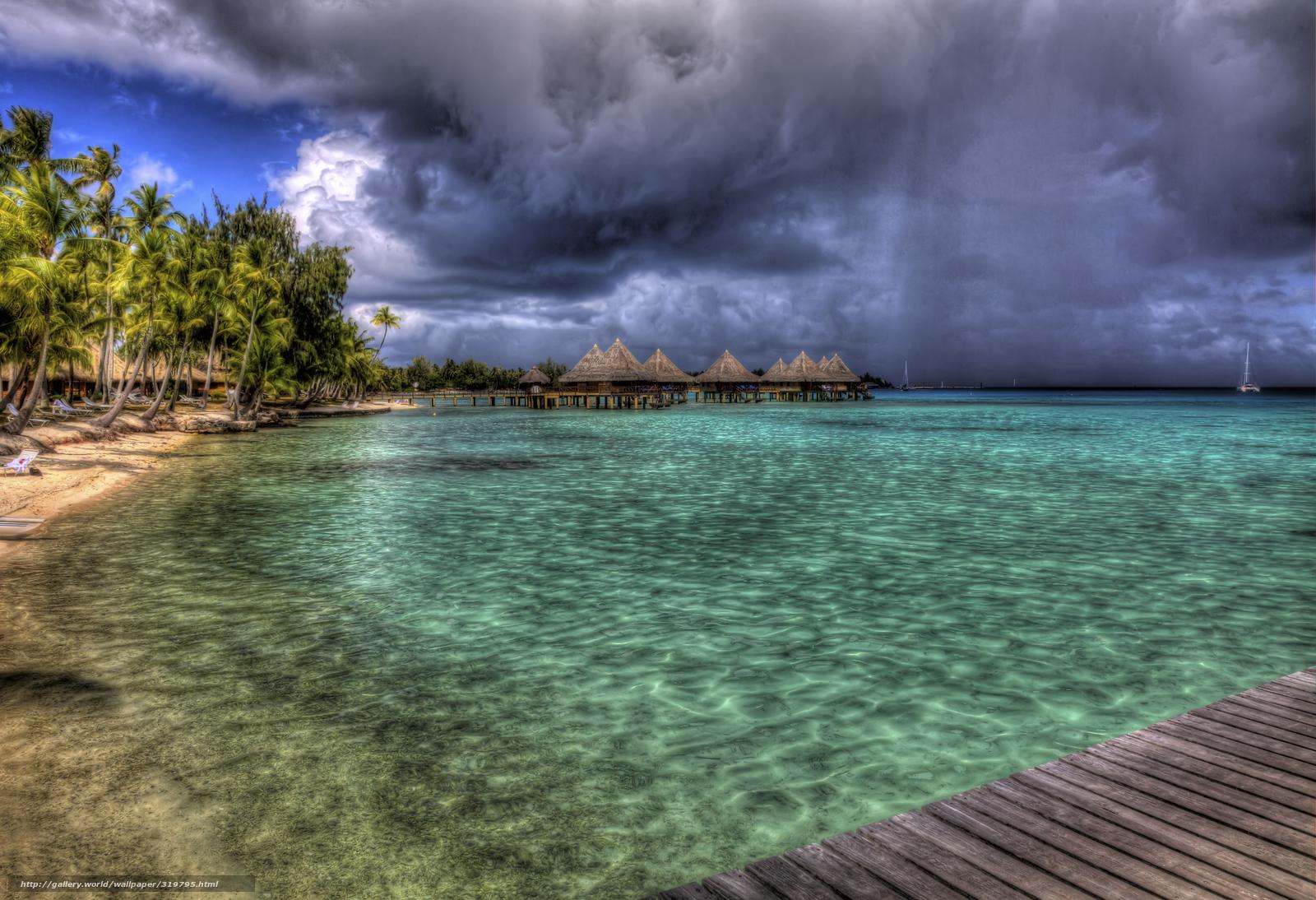 scaricare gli sfondi Bora Bora,  spiaggia,  mare,  palma Sfondi gratis per la risoluzione del desktop 5376x3676 — immagine №319795