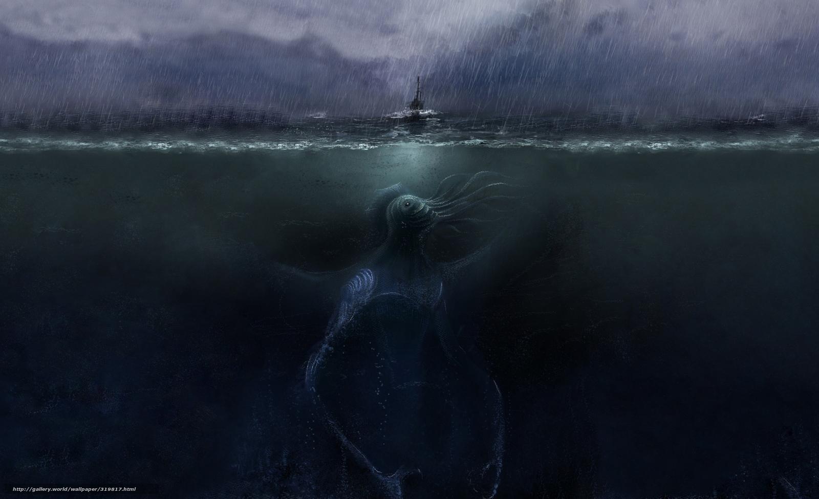 壁紙 クトゥルフ 海 暗い ボート 雨 嵐 デスクトップ 画像番号