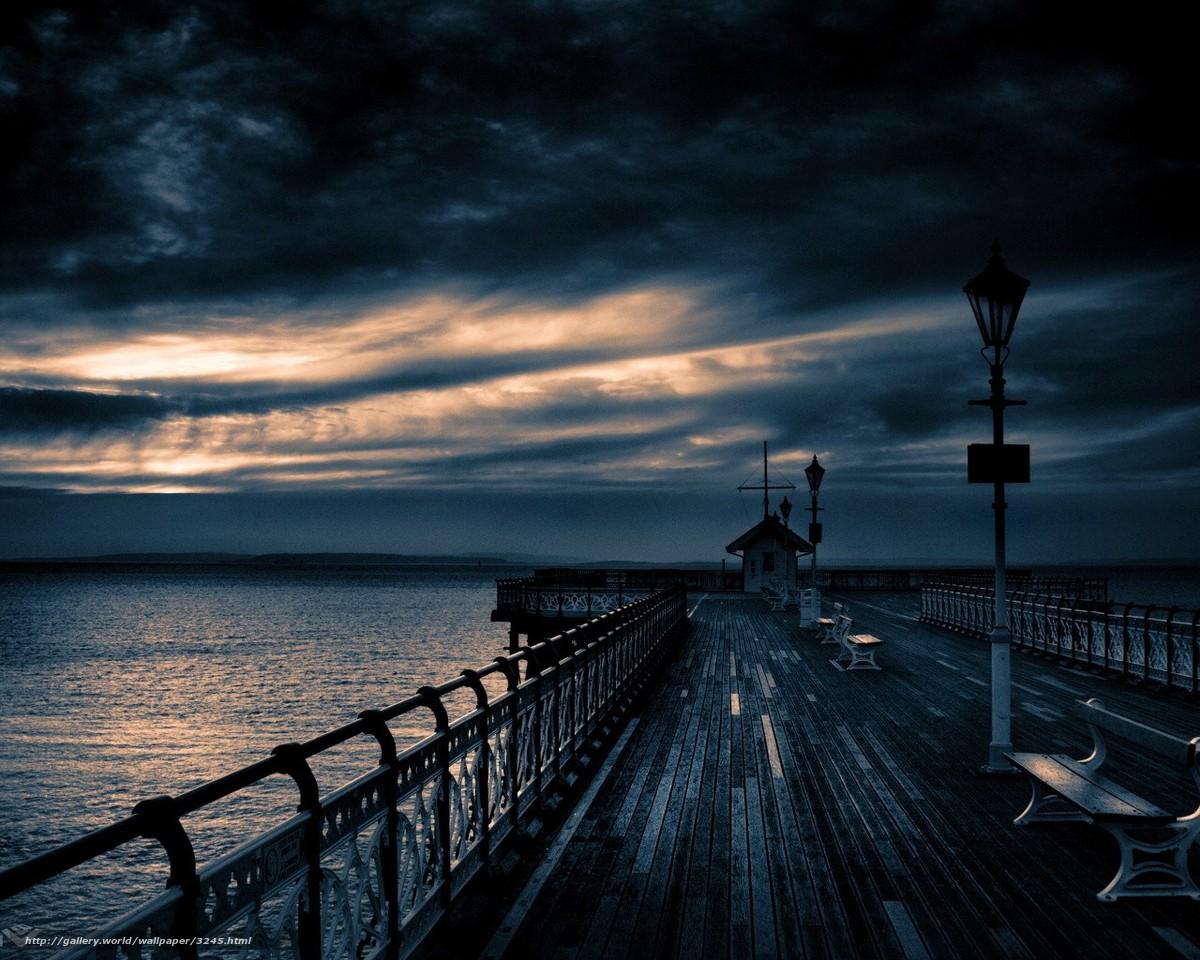 Скачать обои пирс,  облака,  вечер бесплатно для рабочего стола в разрешении 1280x1024 — картинка №3245