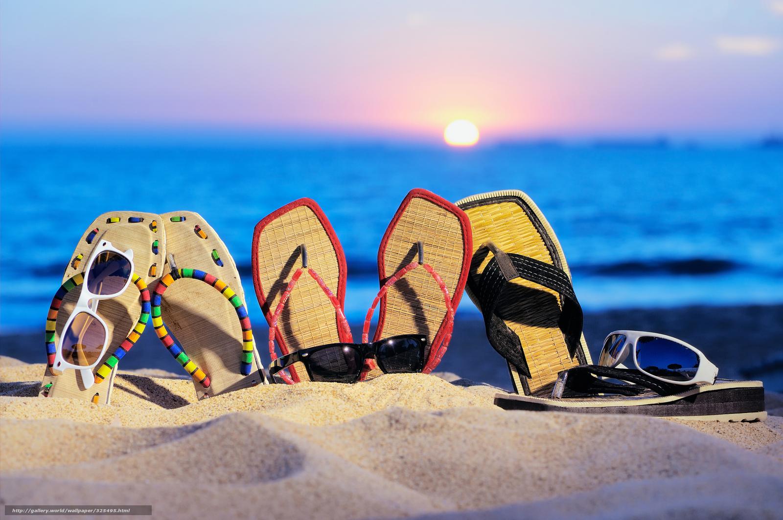 Download wallpaper sea,  beach,  sand,  flip-flops free desktop wallpaper in the resolution 2560x1703 — picture №325495
