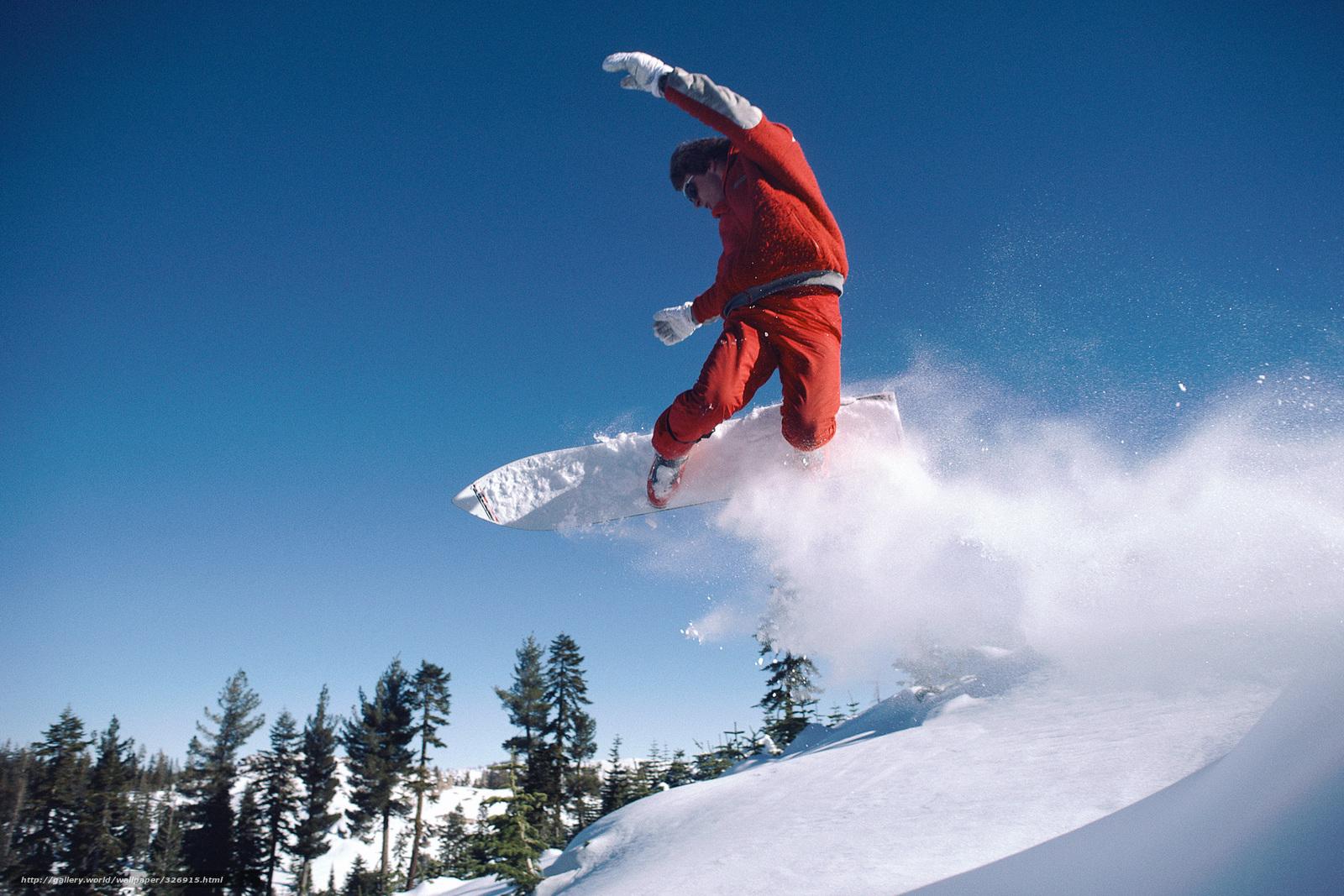 Скачать обои снег,   сноуборд,   гора,   лес. бесплатно для рабочего стола в разрешении 2100x1400 — картинка №326915