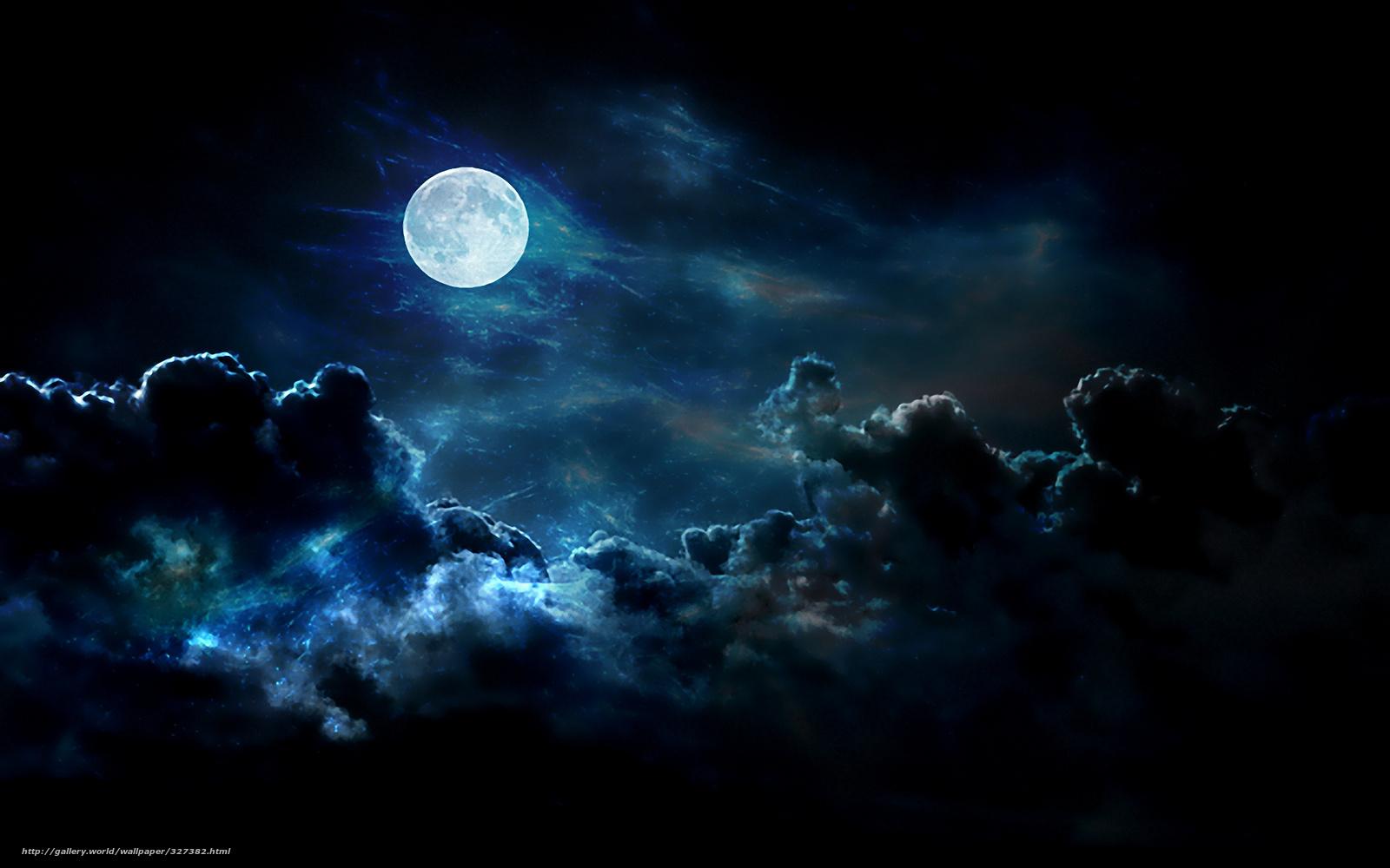 Tlcharger Fond d'ecran lune, nuages, clair de lune Fonds d'ecran gratuits pour votre rsolution du bureau 1920x1200 — image №327382