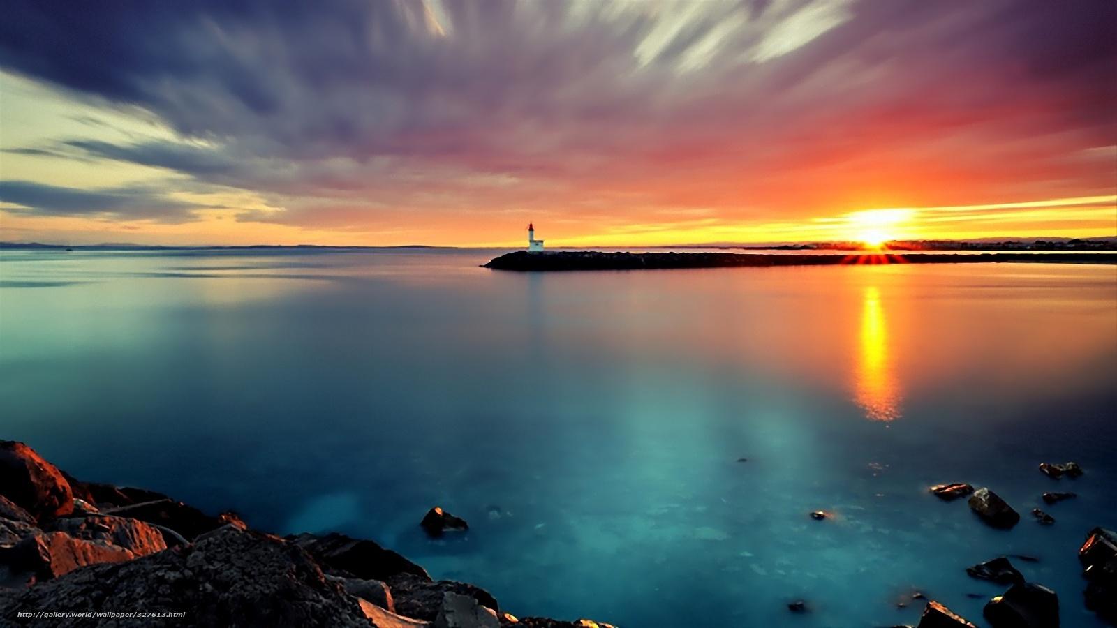 Scaricare gli sfondi mare faro tramonto sfondi gratis for Foto per desktop mare