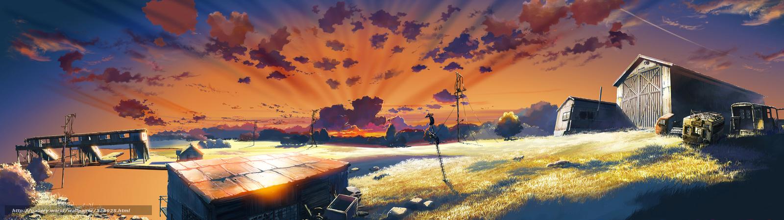 Descargar gratis Anime,  imagen,  granja,  hangar Fondos de escritorio en la resolucin 3840x1080 — imagen №328925