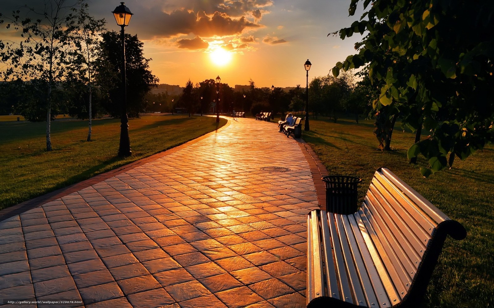 Download wallpaper park,  benches,  man,  sunset free desktop wallpaper in the resolution 1920x1200 — picture №329678