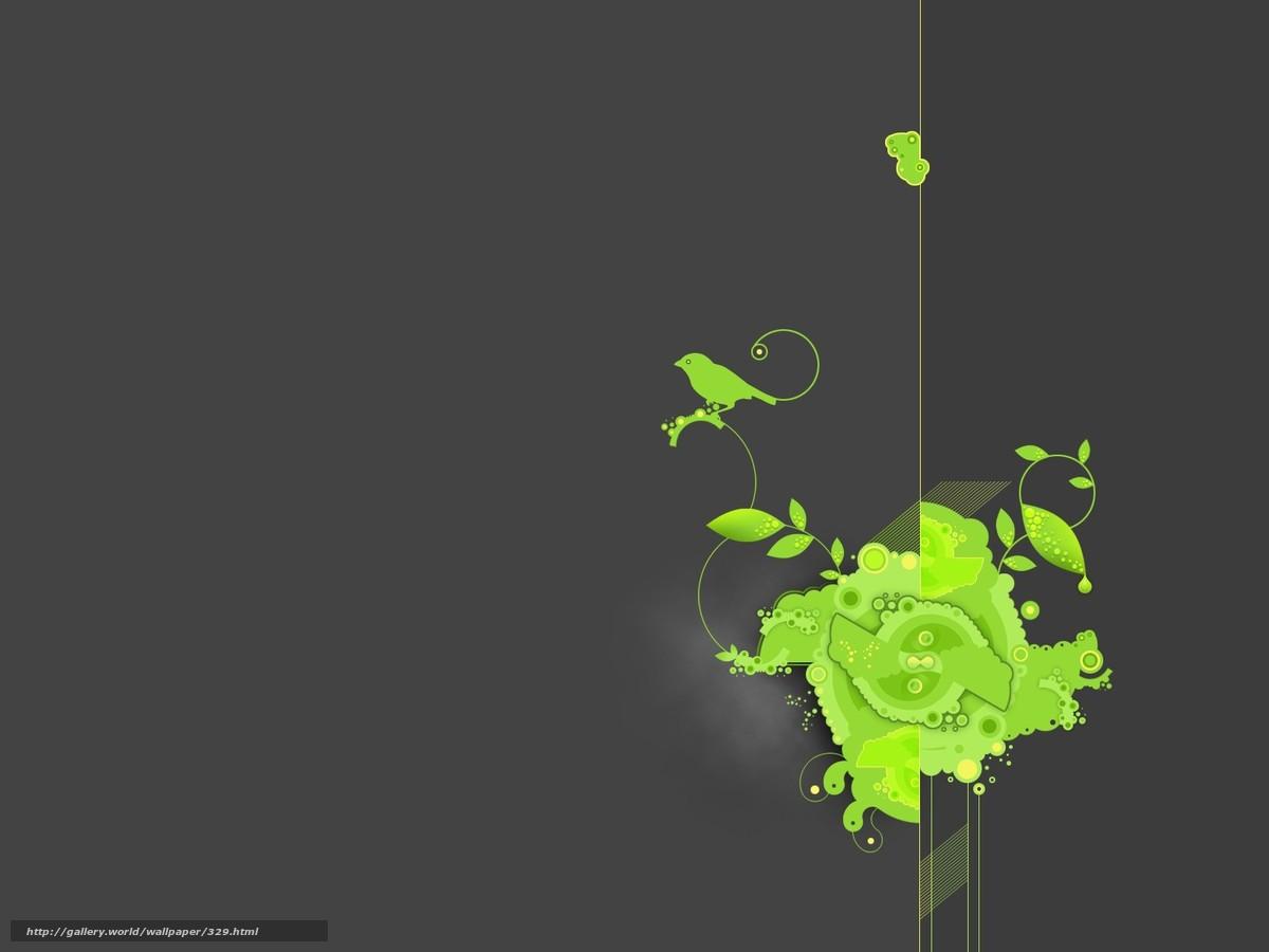 Скачать обои обоя,  серый,  зеленый,  птицы бесплатно для рабочего стола в разрешении 1600x1200 — картинка №329