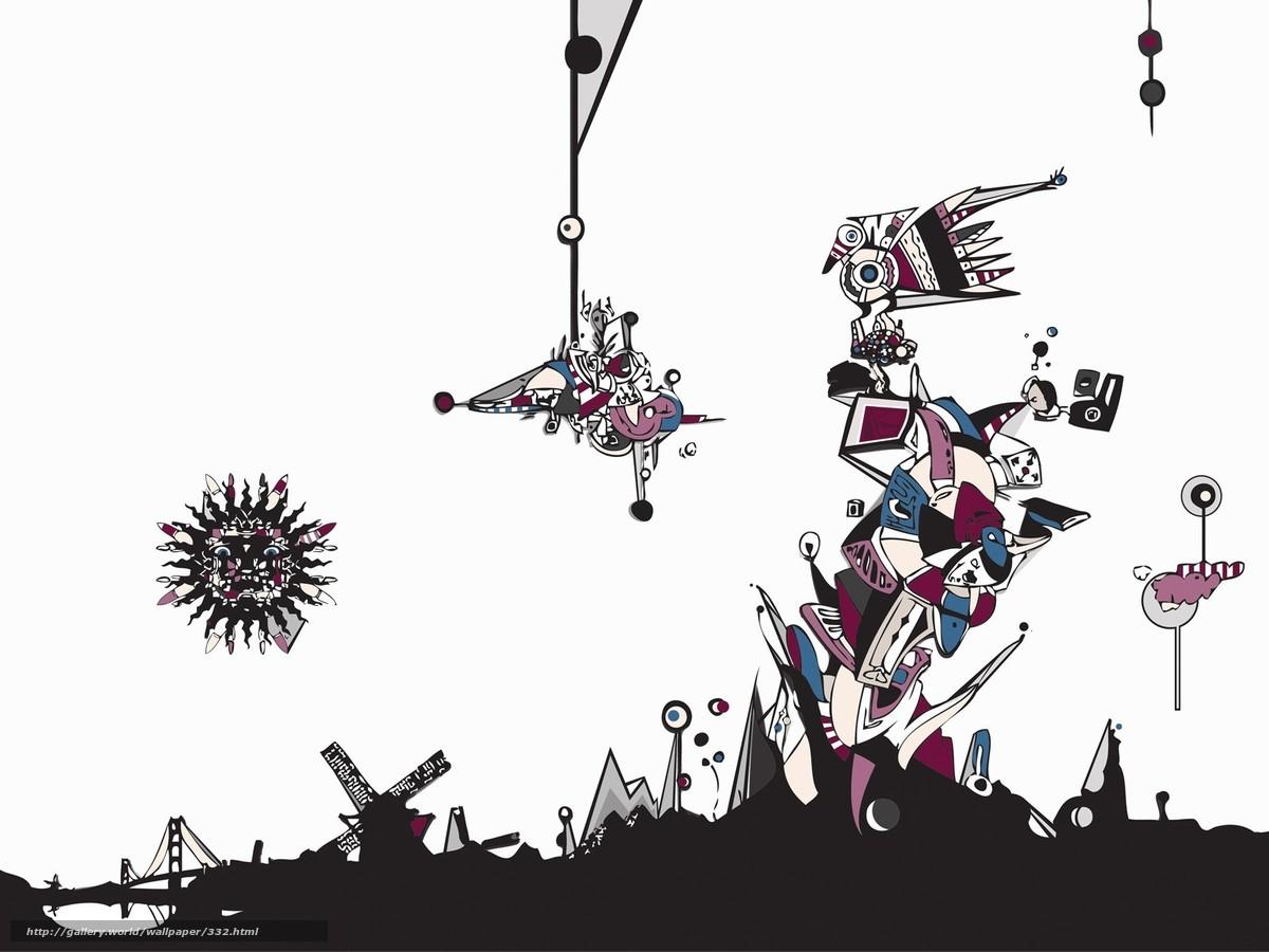 Скачать обои фантазия,  рисунок,  солнце бесплатно для рабочего стола в разрешении 1600x1200 — картинка №332
