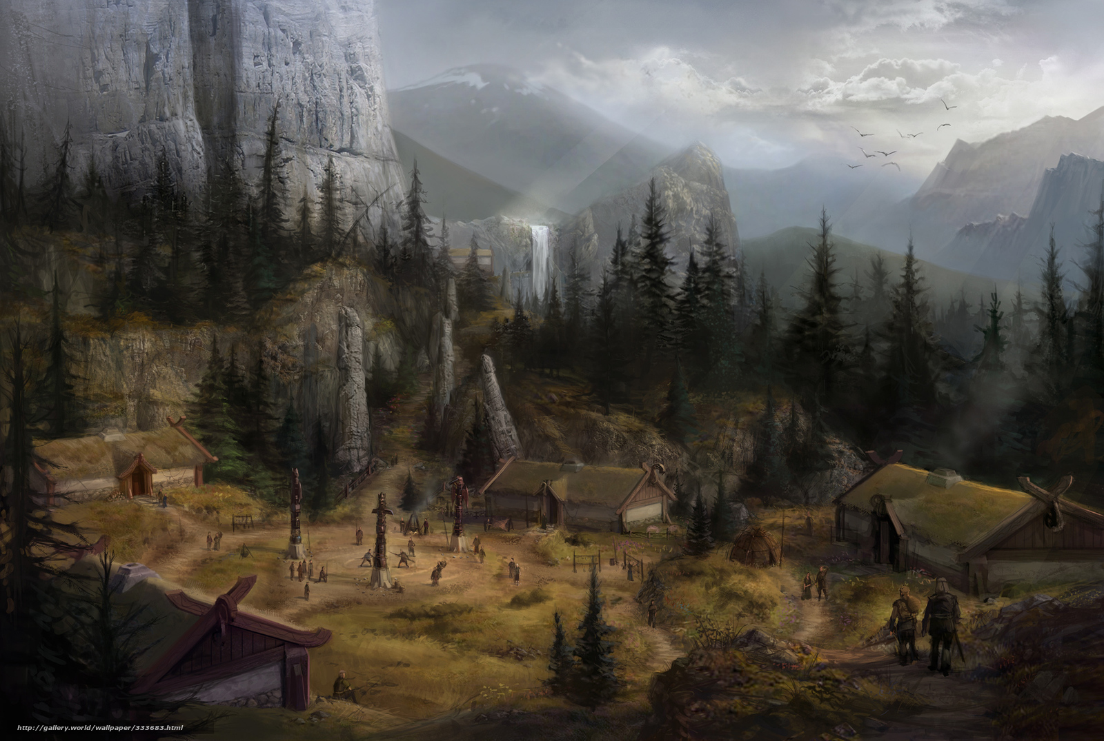 Скачать обои горы,   водопад,   пейзаж,   деревня бесплатно для рабочего стола в разрешении 1920x1290 — картинка №333683