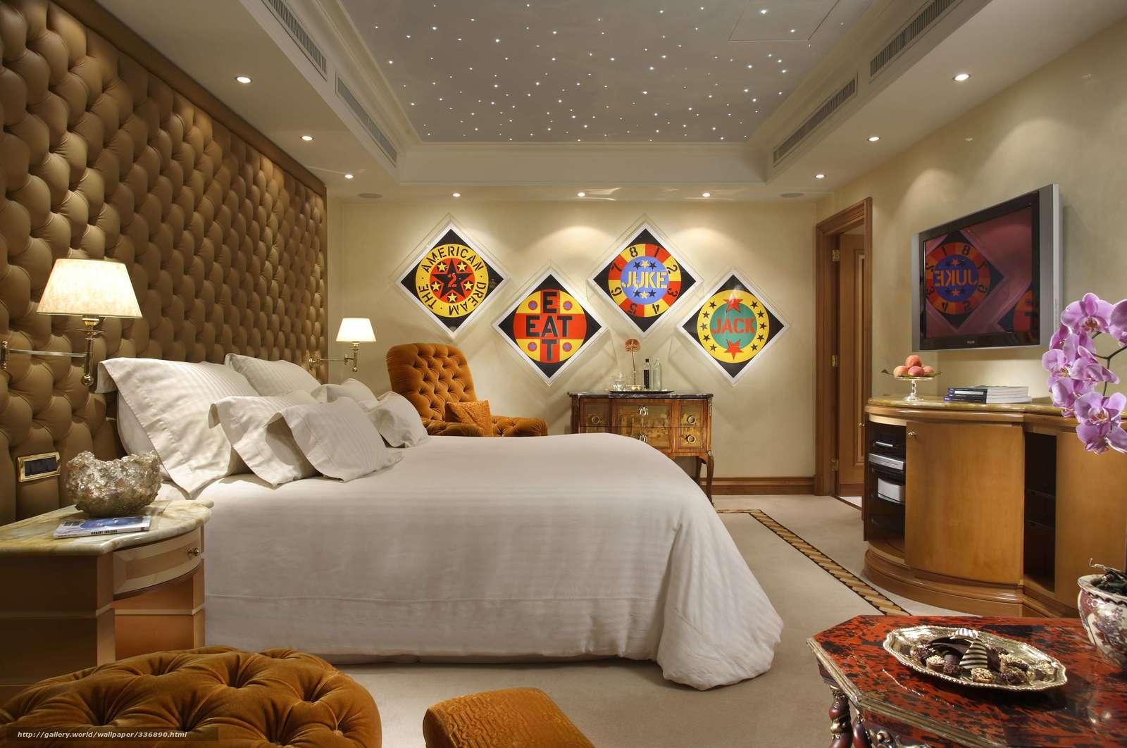 Download hintergrund wohnung, luxus, schlafzimmer, bild freie ...