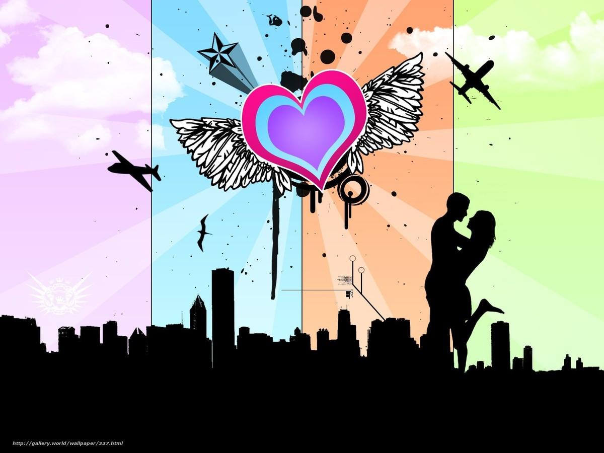 Скачать обои любовь,  вместе,  сердце бесплатно для рабочего стола в разрешении 1600x1200 — картинка №337