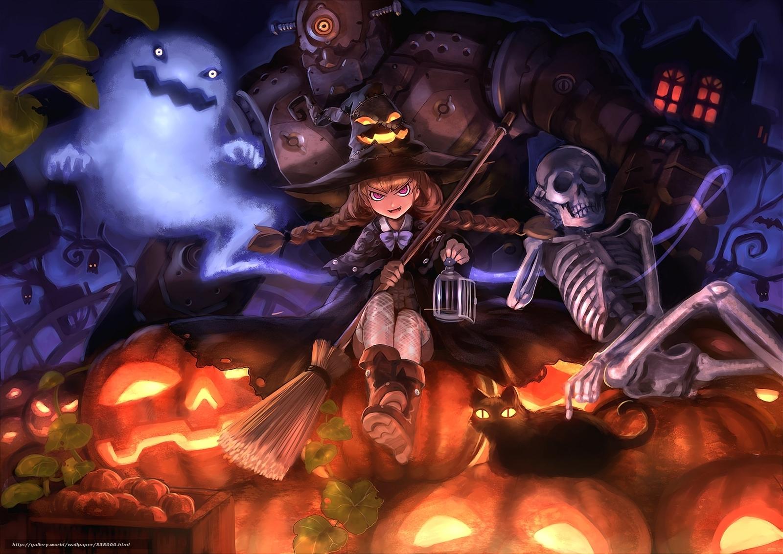Скачать обои арт,   хэллоуин,   девочка,   ведьма бесплатно для рабочего стола в разрешении 1920x1359 — картинка №338000