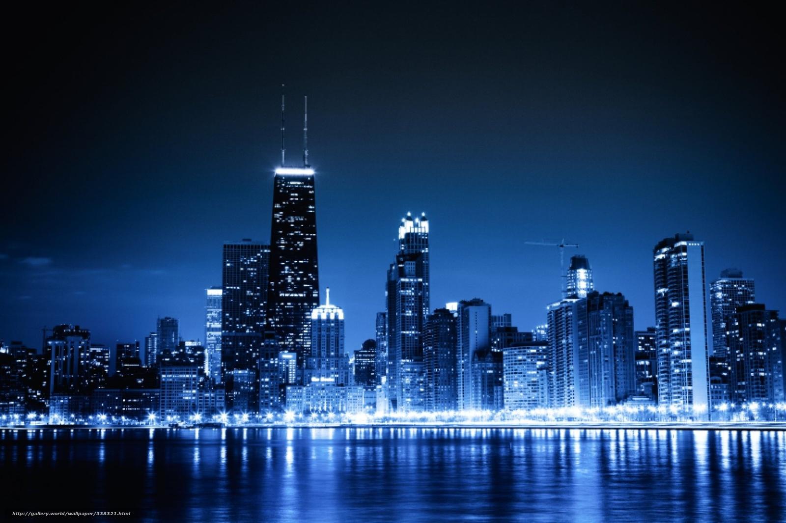 Scaricare Gli Sfondi Chicago Blu Notte Citt Semaforo Sfondi