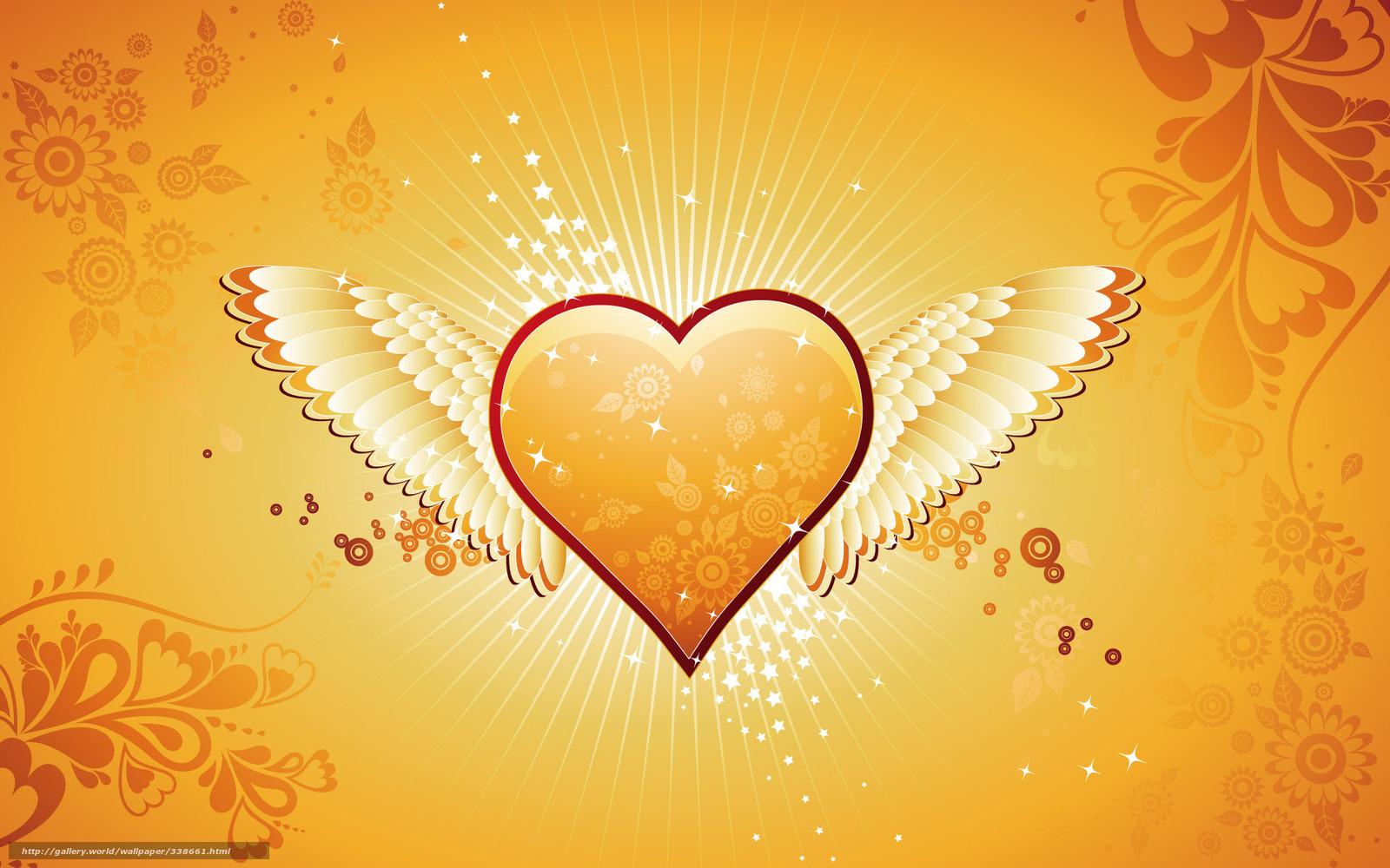 Скачать обои день святого валентина,   сердце,   любовь,   крылья бесплатно для рабочего стола в разрешении 1920x1200 — картинка №338661