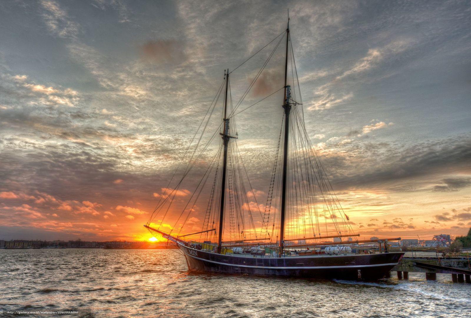 scaricare gli sfondi yacht,  ormeggio,  tramonto Sfondi gratis per la risoluzione del desktop 1920x1299 — immagine №339251