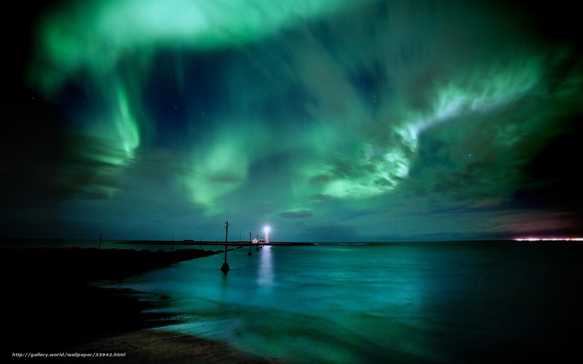 Scaricare gli sfondi aurora boreale islanda notte mare for Sfondi desktop aurora boreale