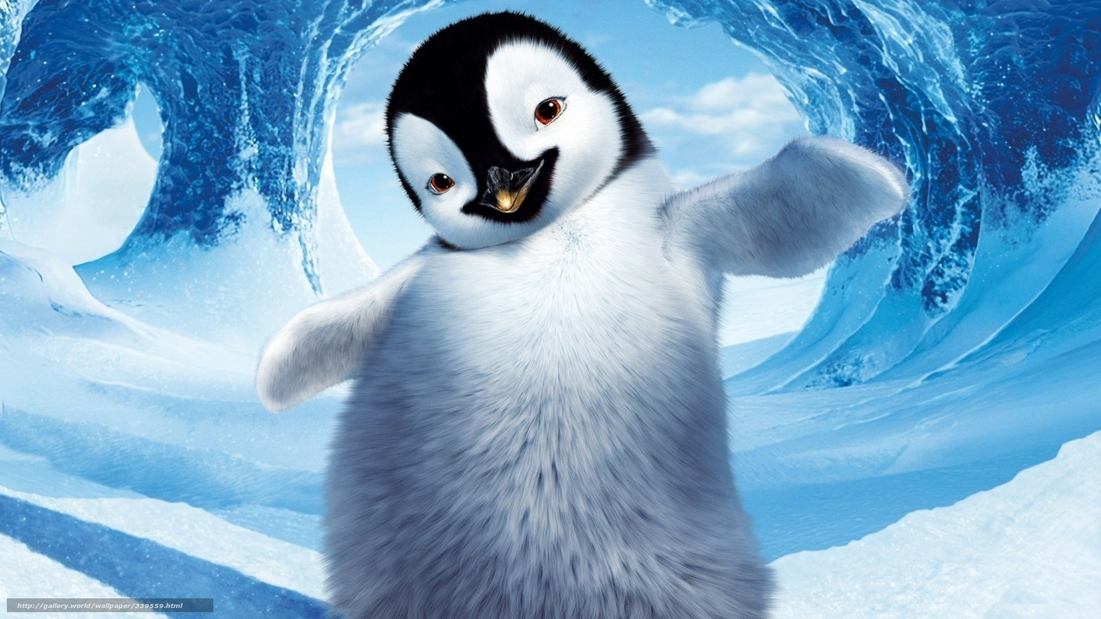 Download wallpaper Cartoon,  Happy Feet,  character,  penguin free desktop wallpaper in the resolution 1920x1080 — picture №339559