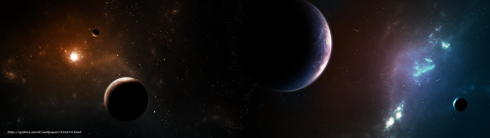 Descargar gratis espacio,  Planeta,  Estrella,  satlites Fondos de escritorio en la resolucin 3840x1080 — imagen №339674