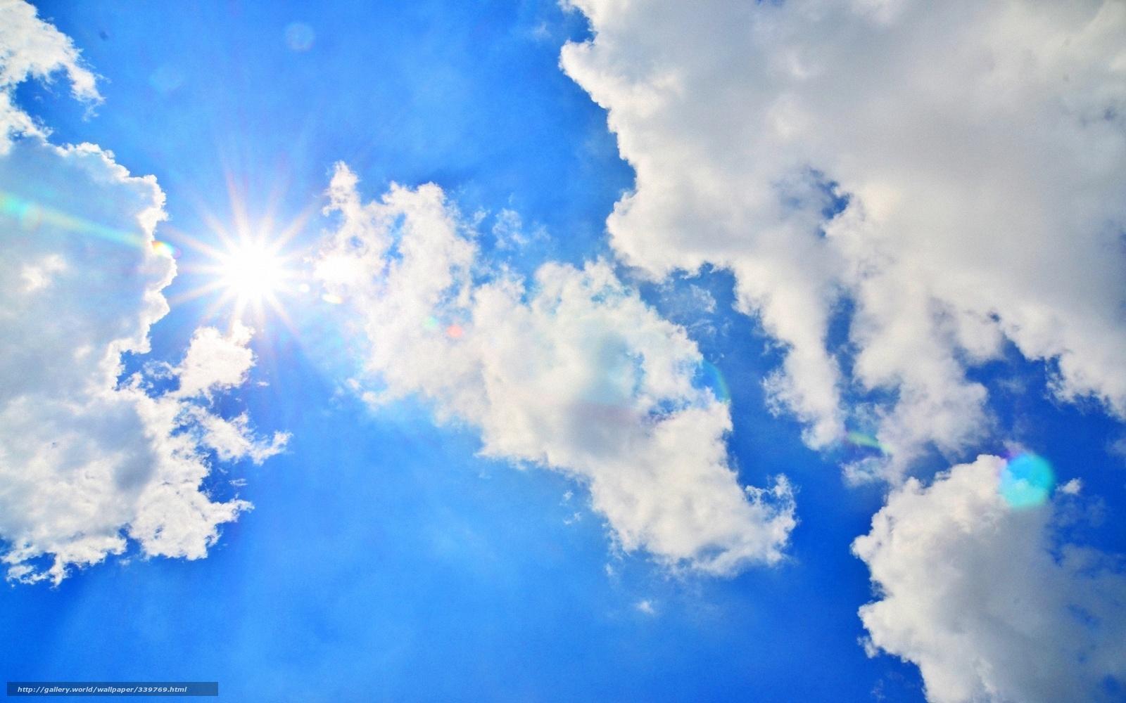 Tlcharger fond d 39 ecran bleu ciel nuages soleil fonds d for Fond full hd