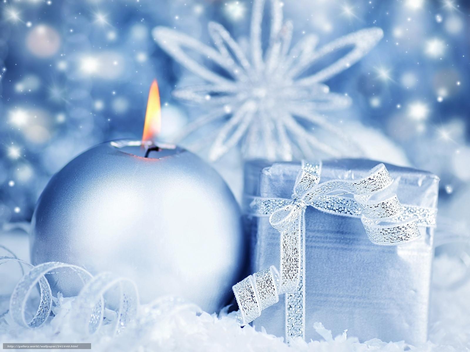 Download Wallpaper Snowflake Blue Candle Gift Free Desktop