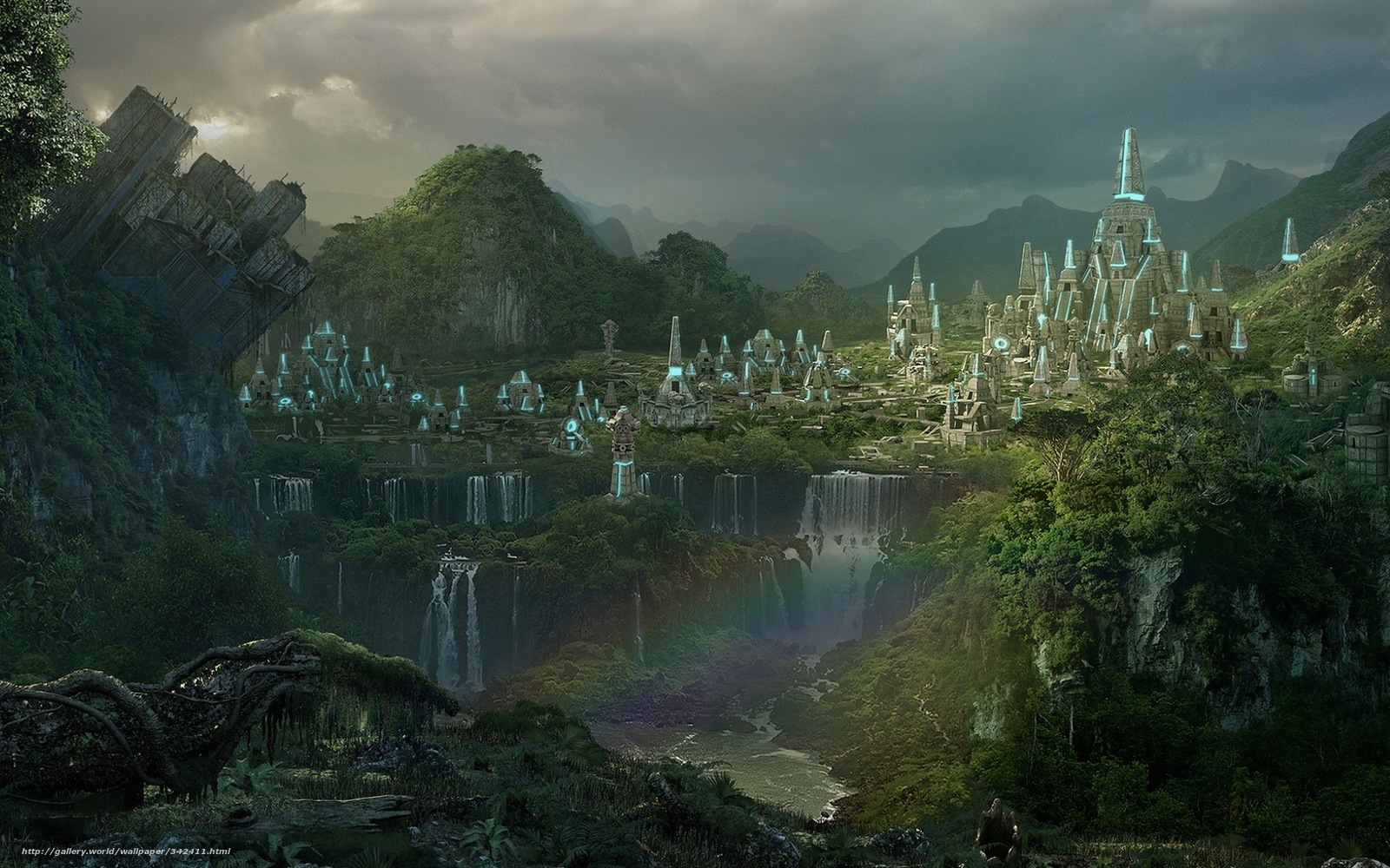 Download wallpaper landscape waterfalls forest city free