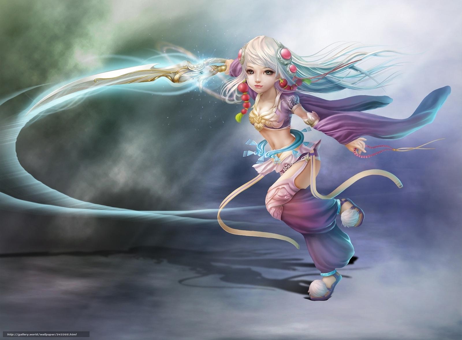Скачать обои арт,  девочка,  меч,  оружие бесплатно для рабочего стола в разрешении 1920x1414 — картинка №343305