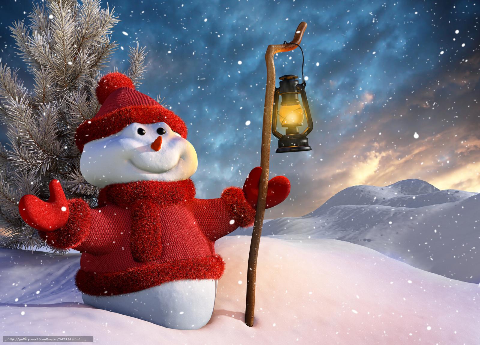 Download Hintergrund Schneemann, Laterne, Schnee, Weihnachten Freie ...