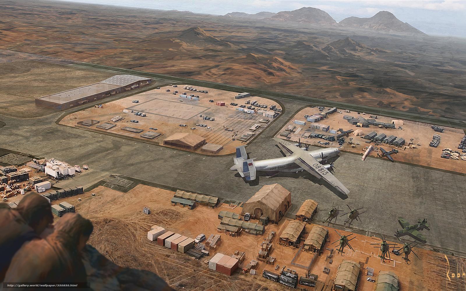 Скачать обои военная база,  самолеты,  вертолеты,  пустыня бесплатно для рабочего стола в разрешении 1680x1050 — картинка №350850