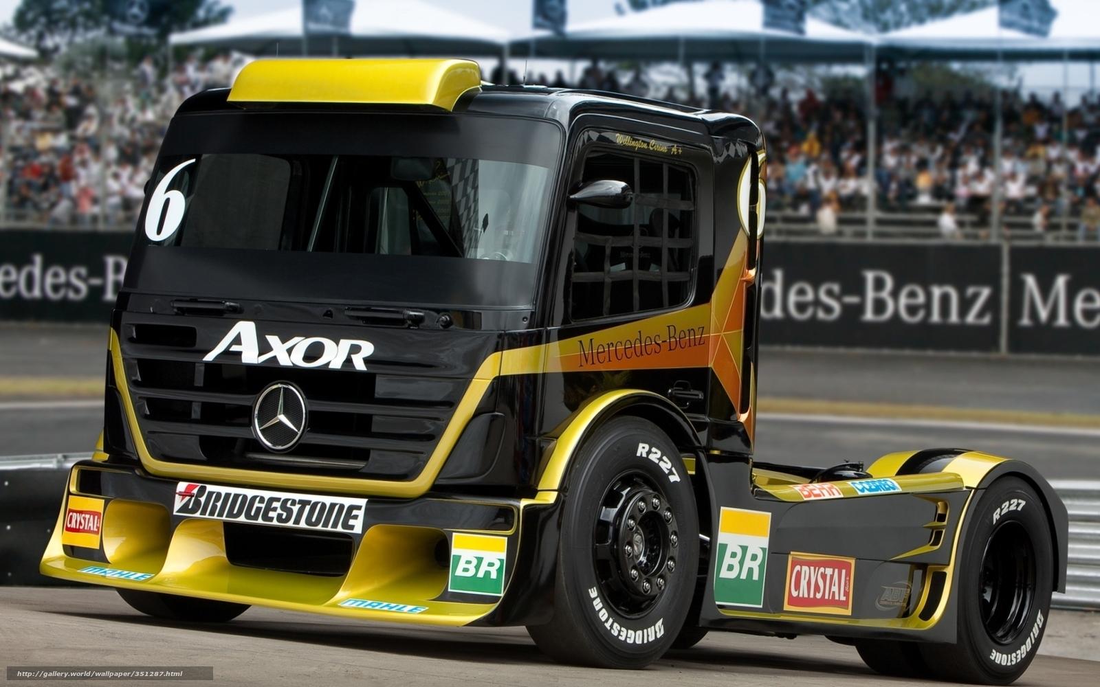 Download wallpaper Mercedes,  truck,  racing car,  front free desktop wallpaper in the resolution 1680x1050 — picture №351287