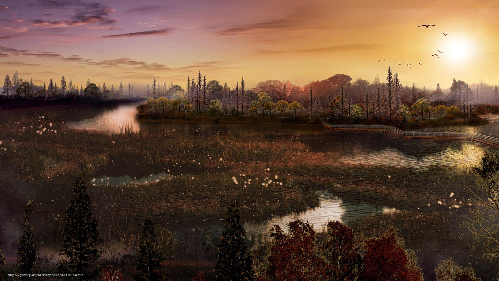 Descargar gratis Naturaleza,  puesta del sol,  estanque,  Aves Fondos de escritorio en la resolucin 1920x1080 — imagen №351311