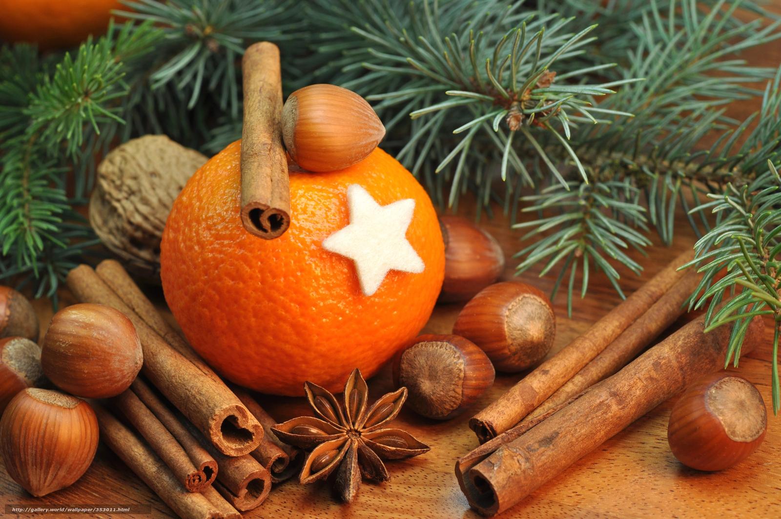 Скачать обои апельсин,  корица,  орехи,  ель бесплатно для рабочего стола в разрешении 8500x5646 — картинка №353011