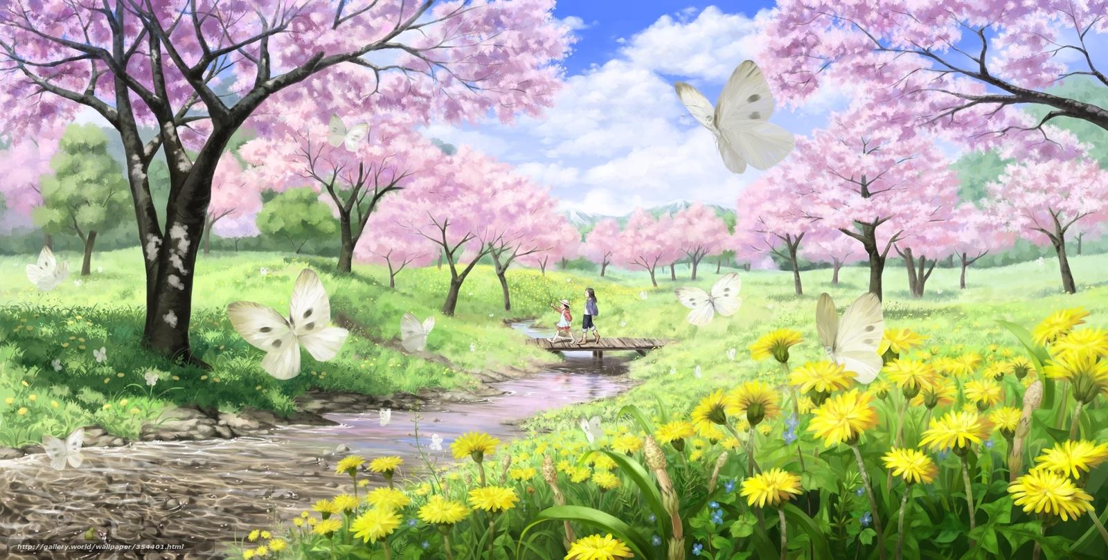 tlcharger fond d 39 ecran art paysage printemps sakura fonds d 39 ecran gratuits pour votre. Black Bedroom Furniture Sets. Home Design Ideas