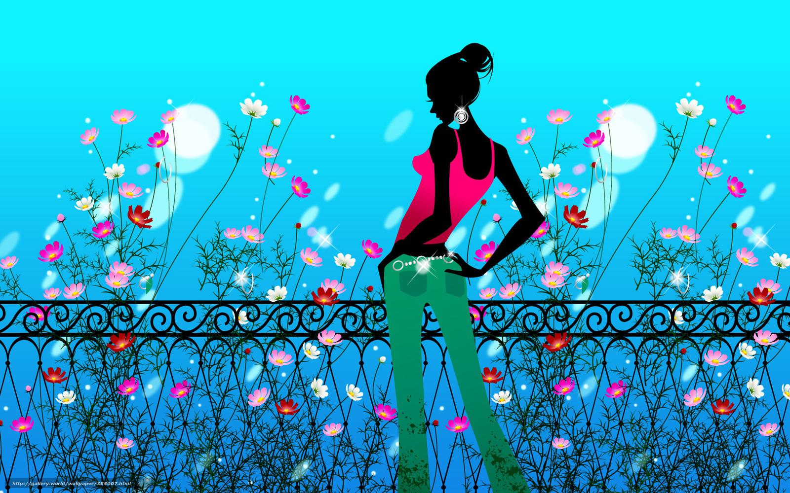 tlcharger fond d 39 ecran dessin fille fleurs kosmeya fonds d 39 ecran gratuits pour votre. Black Bedroom Furniture Sets. Home Design Ideas