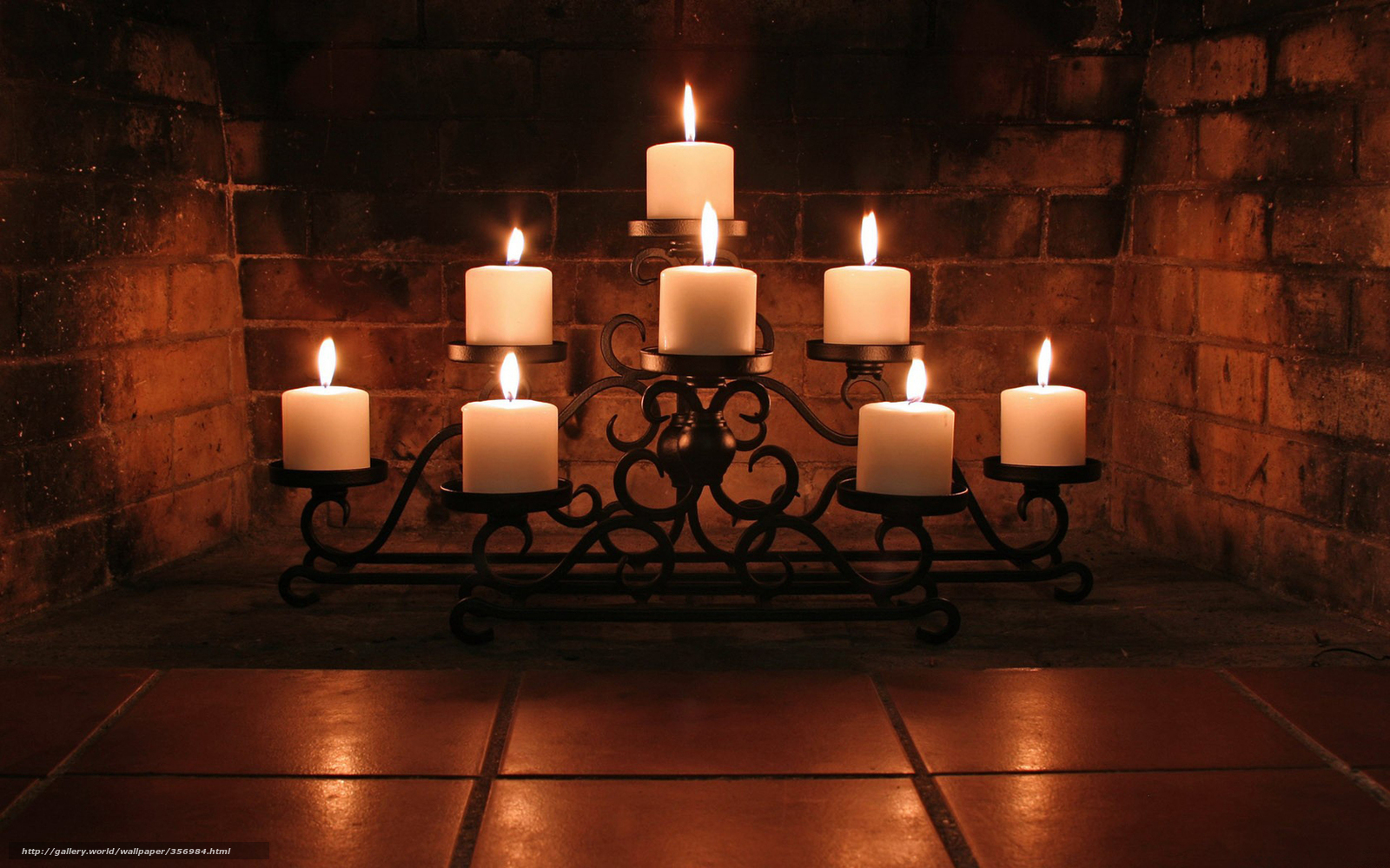 Download wallpaper fireplace, candlestick, Candles, lots of ...