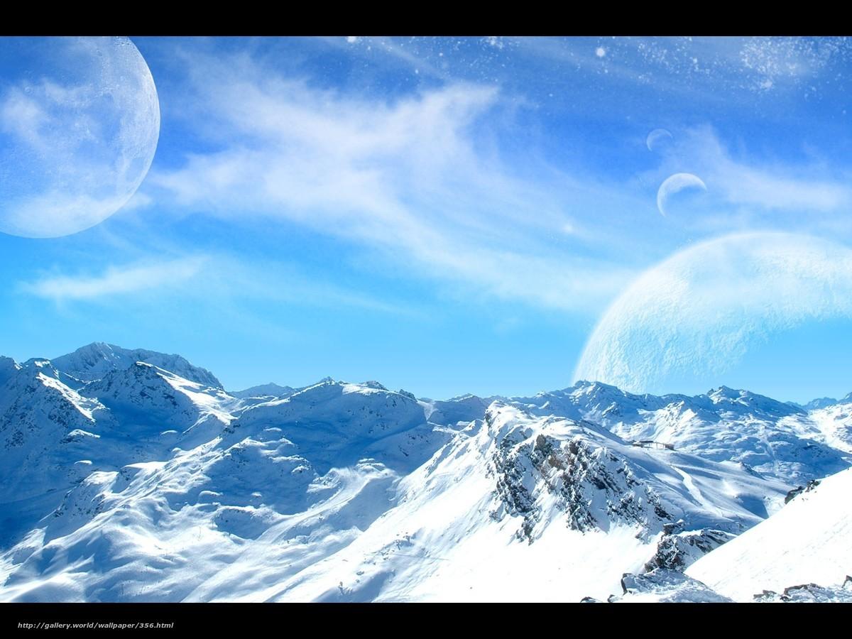 Descargar gratis Montaas,  nieve,  fro,  cielo Fondos de escritorio en la resolucin 1600x1200 — imagen №356