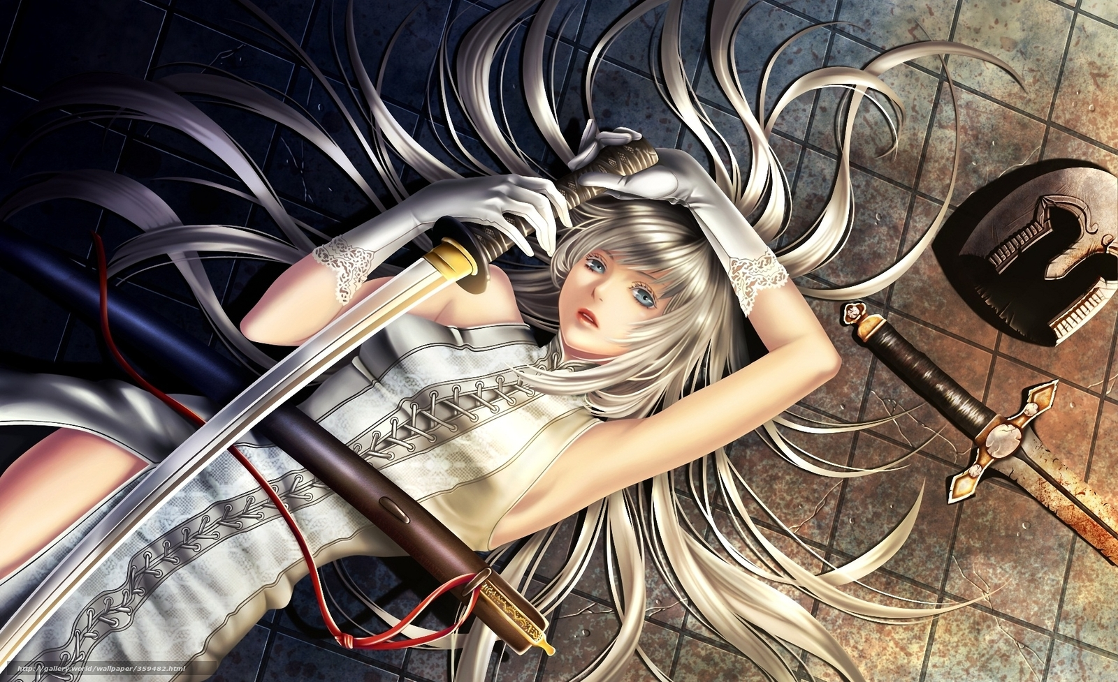 Download wallpaper Art,  girl,  sword,  Katana free desktop wallpaper in the resolution 1920x1172 — picture №359482