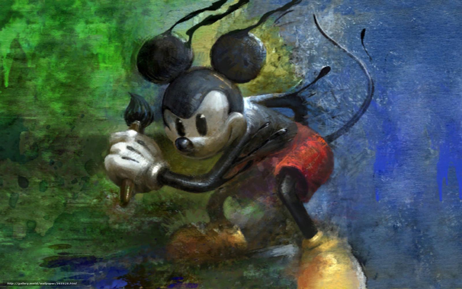 Scaricare gli sfondi topolino vernici spazzola cartone animato