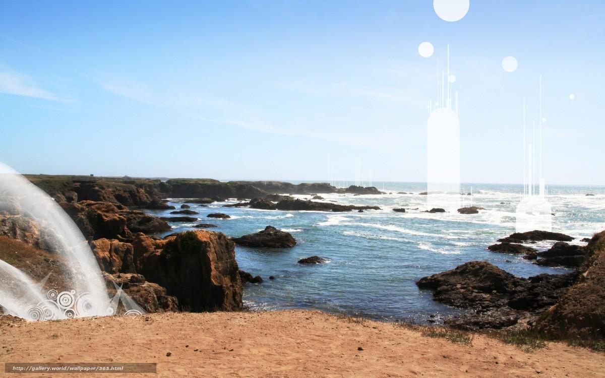 Скачать обои скала,  море,  солнце,  волны бесплатно для рабочего стола в разрешении 1920x1200 — картинка №365