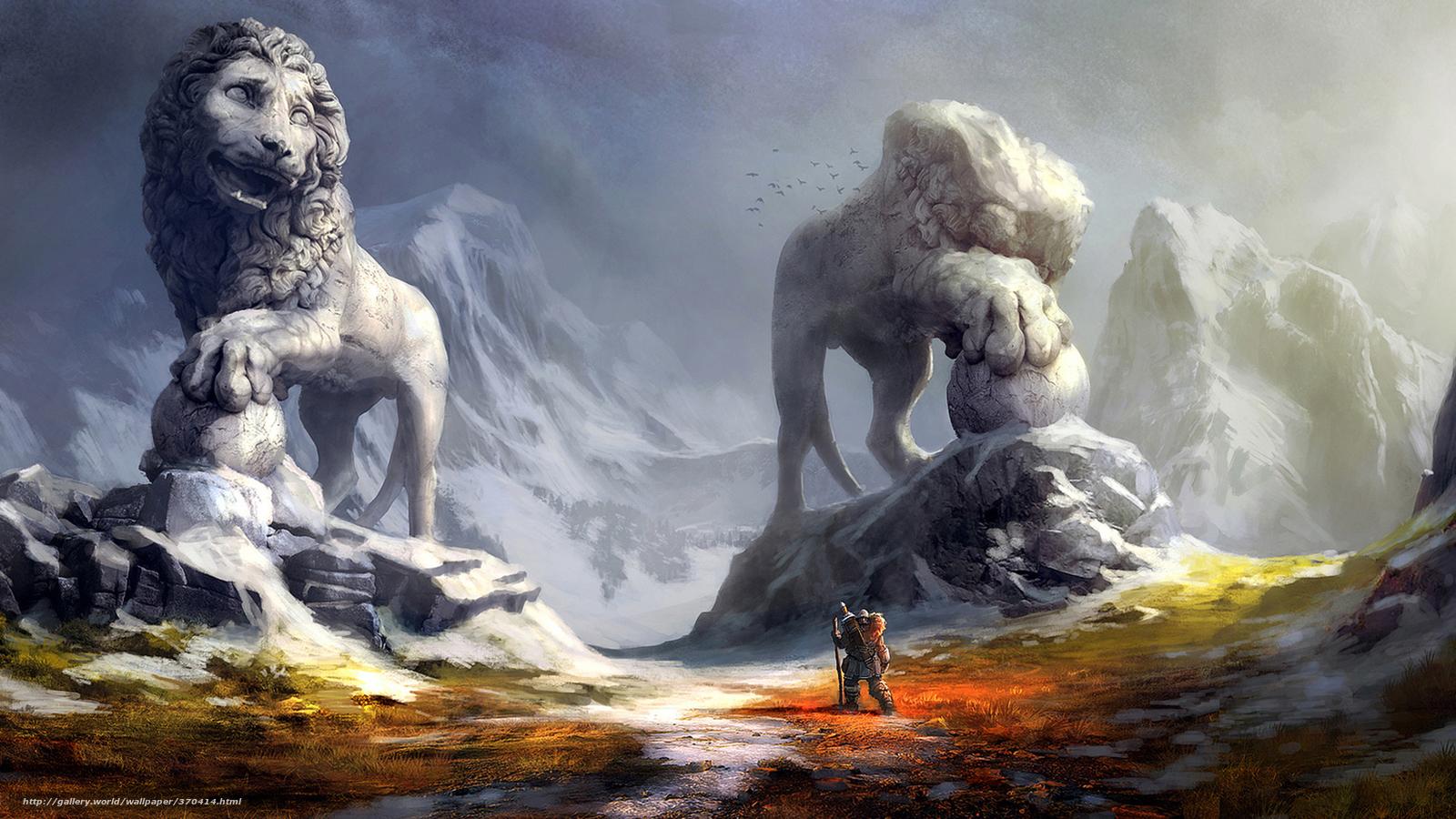scaricare gli sfondi guerriero,  Montagne,  Statue Sfondi gratis per la risoluzione del desktop 1920x1080 — immagine №370414