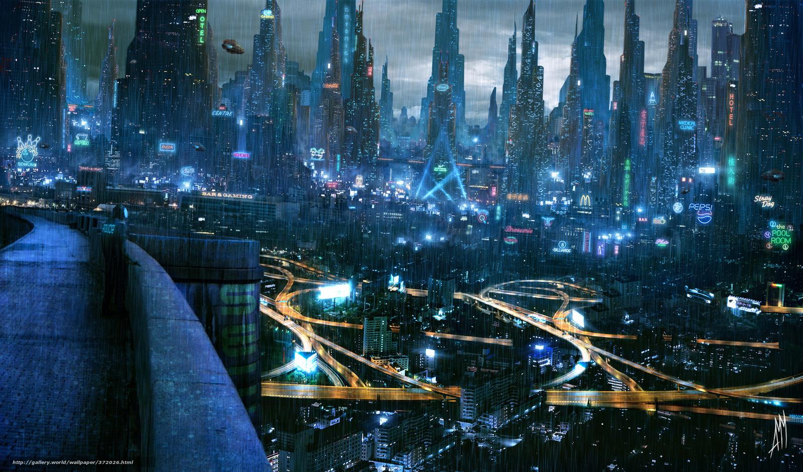 Rain City Wallpaper download wallpaper cyberpunk, future, rain, city free desktop