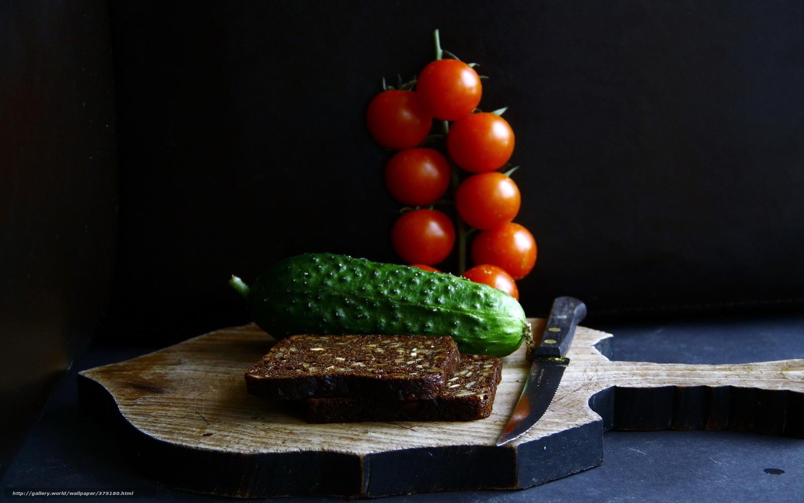 Скачать обои хлеб,  огурец,  помидоры,  нож бесплатно для рабочего стола в разрешении 2560x1600 — картинка №375180